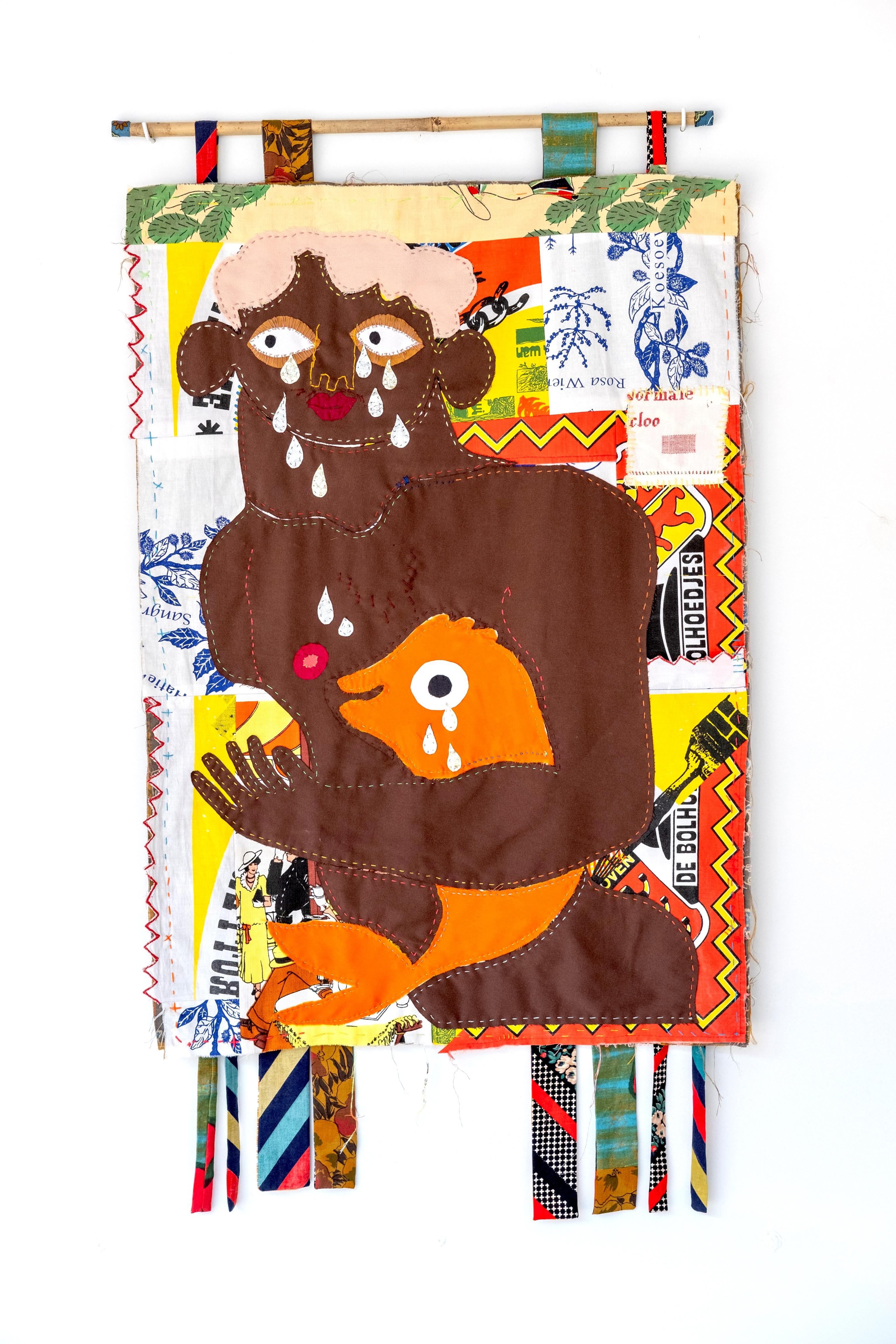 Bas Kosters is een Nederlandse modeontwerper en kunstenaar. Hij staat vooral bekend om zijn textielkunst. Hij werkt graag met wandkleden of quilts. Deze quilt laat een bruin figuur zien met roze haar, die een oranje vis omarmt. Zowel het figuur als de vis huilen. De tranen zijn zilver kleurig of van glitter. Dit werk is nu te zien in Museum Rijswijk in de tentoonstelling Wolzak & Kosters: Serious International Business | Crafts Council Nederland