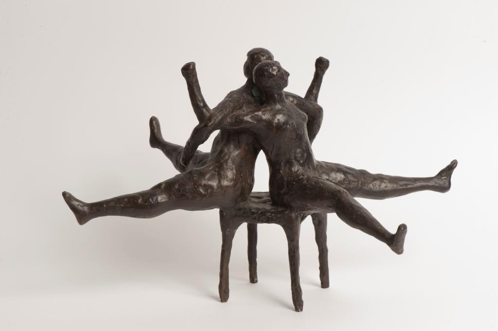 Armand van der Helm (1939-1969), Spelende kinderen, brons, hoogte 20 cm, Museum Rijswijk